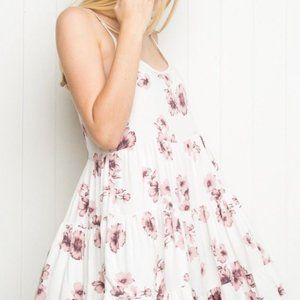 Brandy Melville Jada Dress Nude with Pink Floral